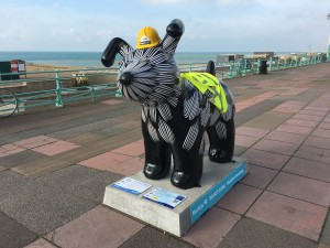 Mackley's Snowdog, Flower, looking resplendent on Brighton's seafront